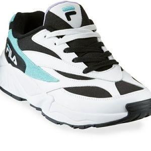 Nwt FILA mixed-media black blue sneakers 10.5